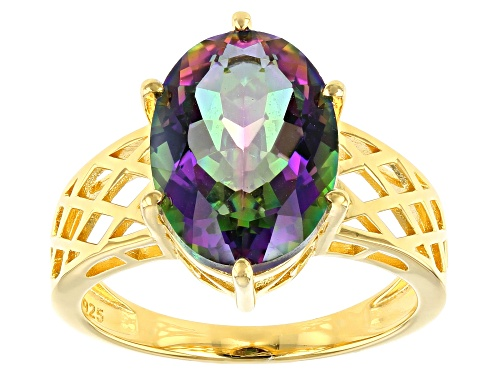 Pre-Owned 5.10ct Oval Multi-color Quartz 18K Yellow Gold Over Sterling Silver Solitaire Ring - Size 7