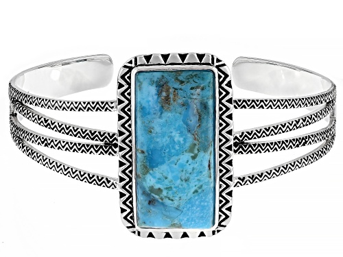 Photo of Pre-Owned Southwest Style By JTV™ Blue Turquoise Rhodium Over Silver Cuff Bracelet - Size 7.5