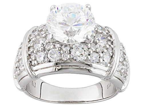 Photo of Pre-Owned Bella Luce ® Dillenium 8.26ctw Diamond Simulant Rhodium Over Sterling Silver Ring (4.75ctw - Size 7
