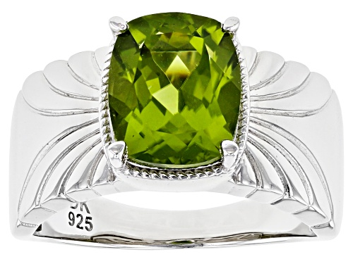 Photo of Pre-Owned 2.76ct Rectangular Cushion Manchurian Peridot(TM) Rhodium Over Sterling Silver Ring - Size 7