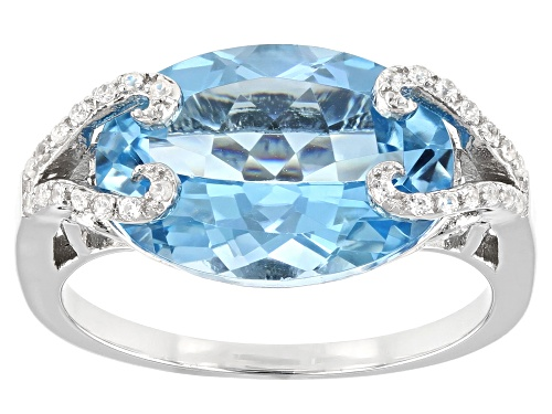 Photo of Pre-Owned 6.38ct Oval Glacier Topaz(TM) and 0.12ctw Zircon Rhodium Over Sterling Silver Ring - Size 6