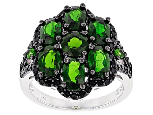 Photo of Pre-Owned 3.14ctw Oval & Round Chrome Diopside W/ .72ctw Black Spinel Rhodium Over Silver Ring - Size 8