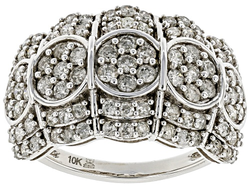 Pre-Owned 1.50ctw Round White Diamond 10k White Gold Wide Band Ring - Size 5
