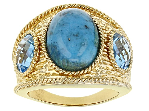 Photo of Pre-Owned 14x10mm Oval Turquoise With 2.32ctw Oval Swiss Blue Topaz 18K Gold Over Sterling Silver - Size 7