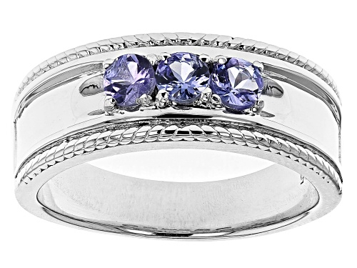 Photo of Pre-Owned .77ctw Round Tanzanite Rhodium Over Sterling Silver Mens Band Ring - Size 9