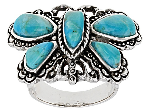 Photo of Pre-Owned Southwest Style By JTV™ Mixed Shapes Turquoise Rhodium Over Silver Dragonfly Ring - Size 10