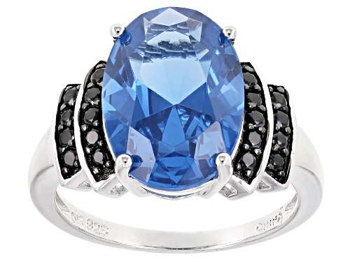 Photo of Pre-Owned 5.10ct Oval Lab Created Blue Spinel And .31ctw Round Black Spinel Rhodium Over Sterling Si - Size 12