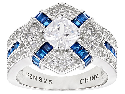 Photo of Pre-Owned Bella Luce® 3.39ctw Blue Sapphire and White Diamond Simulants Rhodium Over Sterling Silver - Size 8