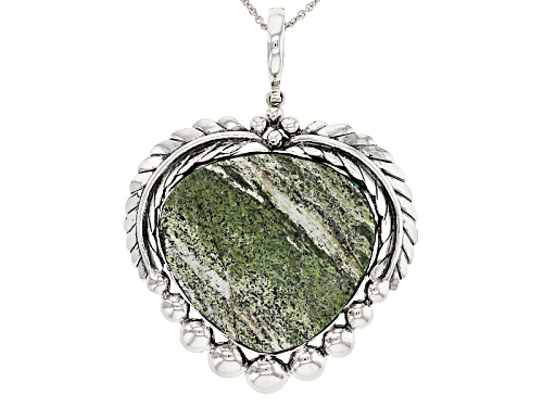 Photo of Pre-Owned Southwest Style by JTV™ heart shape green zebra jasper sterling silver enhancer with chain