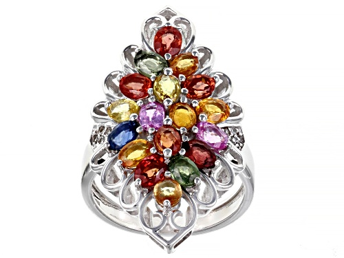 Photo of Pre-Owned 4.18ctw Multi Color Sapphire & White Zircon Rhodium Over Silver Ring - Size 8