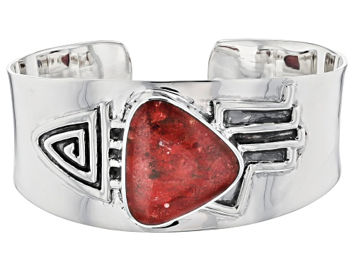 Photo of Pre-Owned Southwest Style By JTV™ 25.5mmx24mm Custom Shape Coral Rhodium Over Silver Men's Cuff Brac