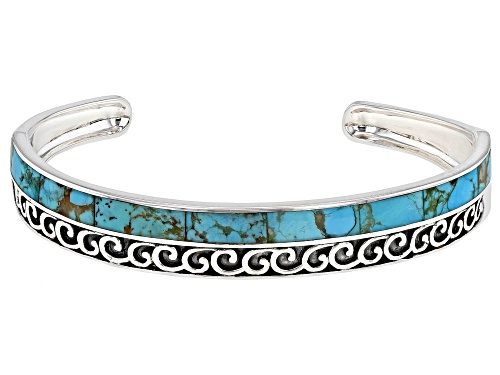 Photo of Pre-Owned Southwest Style By JTV™ 71 X 4.8mm Blue Turquoise Rhodium Over Silver Cuff Bracelet - Size 7.5