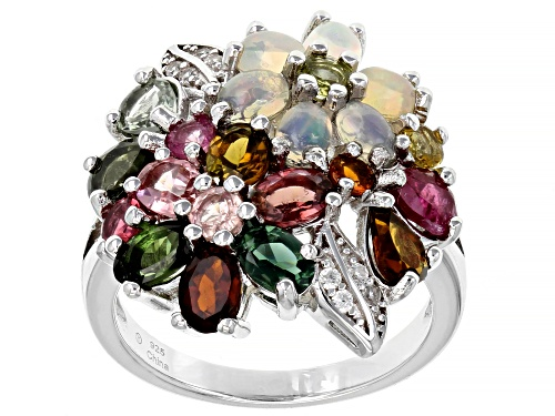 Photo of Pre-Owned 2.00ctw Multi Color Tourmaline With White Opal and White Zircon Rhodium Over Silver Ring - Size 7