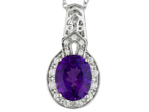 Photo of Pre-Owned 1.91ct Oval Moroccan Amethyst And .17ctw Round White Zircon Sterling Silver Pendant With C