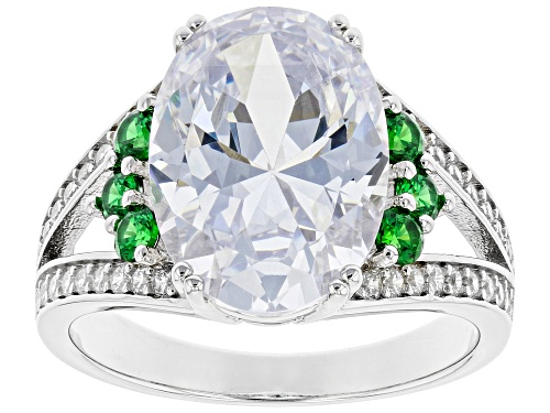 Photo of Pre-Owned Bella Luce® 10.45ctw Emerald And White Diamond Simulants Rhodium Over Silver Ring (6.53ctw - Size 7
