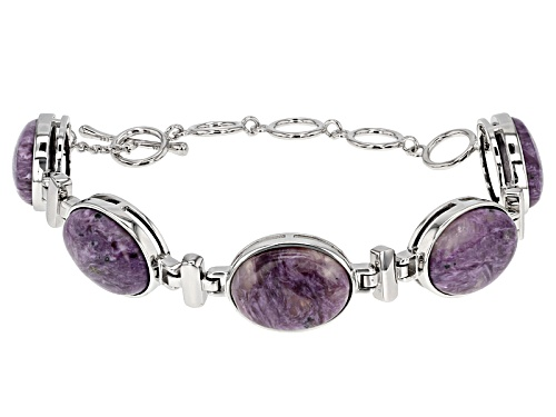 Photo of Pre-Owned 20x15mm Oval Russian Charoite Rhodium Over Sterling Silver Bracelet - Size 7.25