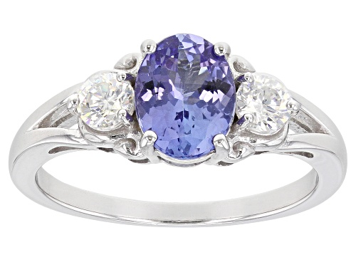 Photo of Pre-Owned 1.06CT TANZANITE WITH .49CTW LAB CREATED STRONTIUM TITANATE RHODIUM OVER SILVER RING - Size 7