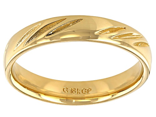 Photo of Pre-Owned Moda Al Massimo® 18k Yellow Gold Over Bronze Comfort Fit 4MM Diamond Cut Band Ring - Size 8