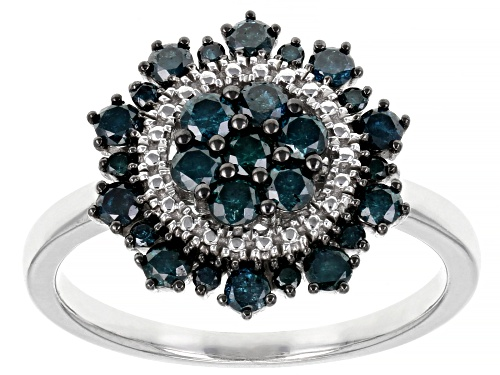 Photo of Pre-Owned 0.80ctw Round Blue Diamond Rhodium Over Sterling Silver Cluster Ring - Size 7