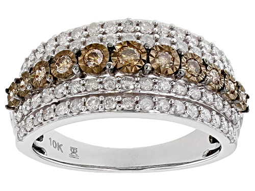 Photo of Pre-Owned 1.00ctw Round Champagne And White Diamond 10k White Gold Ring - Size 10.5