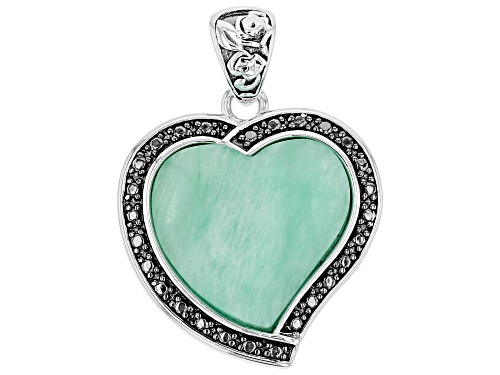 Pre-Owned 12mm Heart Shape Cabochon Amazonite Sterling Silver Solitaire Pendant