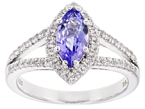 Photo of Pre-Owned .96CT MARQUISE TANZANITE WITH .30CTW ROUND WHITE ZIRCON RHODIUM OVER SILVER RING - Size 8