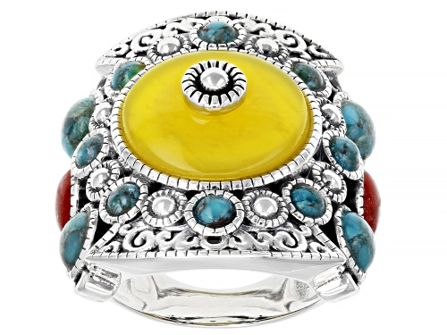 Photo of Pre-Owned Global Destinations™ Yellow Onyx, Red Sponge Coral and Turquoise Sterling Silver Ring - Size 8