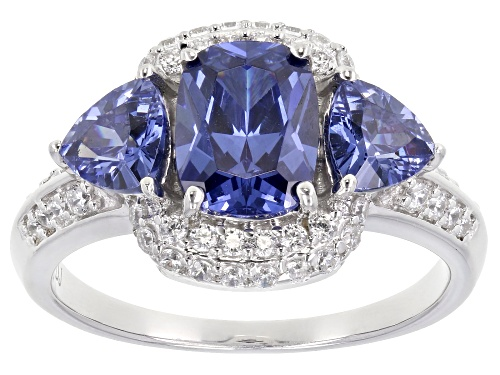 Photo of Pre-Owned Bella Luce ® 4.65ctw Esotica™ Tanzanite And White Diamond Simulants Rhodium Over Sterling - Size 8