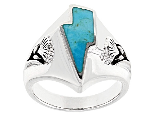 Photo of Pre-Owned Southwest Style By JTV™ Turquoise Rhodium Over Sterling Silver Mens Lightning Bolt Ring - Size 11