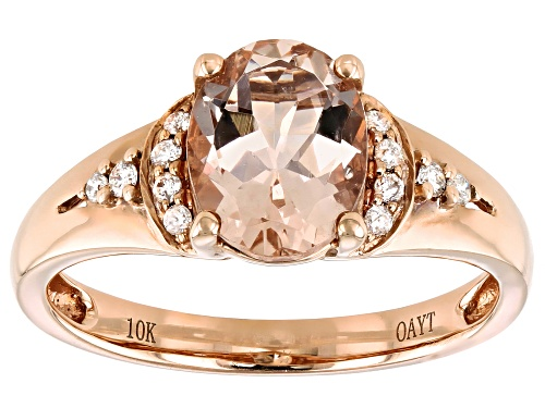Photo of Pre-Owned 1.59ct Oval Cor-de-Rosa Morganite™ With 0.09ctw Diamond Accent 10k Rose Gold Ring - Size 5