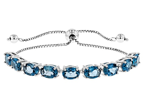 Photo of Pre-Owned 7.19ctw Oval London Blue Topaz Rhodium Over Silver Bolo Bracelet, Adjusts to Approximately