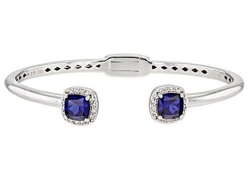 Pre-Owned 3.82ctw Lab Created Blue And 0.42ctw Lab Created White Sapphire Rhodium Over Silver Cuff B - Size 6.5