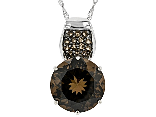 Photo of Pre-Owned 12.26ctw Round Smoky Quartz Rhodium Over Sterling Silver Pendant with Chain
