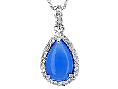 Photo of Pre-Owned 15x10mm Pear Shape Blue Chalcedony With .74ctw Round White Zircon Sterling Silver Pendant