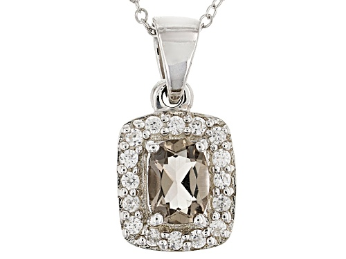 Photo of Pre-Owned .60ct Cushion Smoky Quartz And .30ctw Round White Zircon Sterling Silver Pendant And Chain
