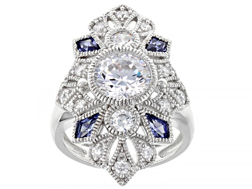 Photo of Pre-Owned Bella Luce ® Esotica™ 5.32ctw Tanzanite and White Diamond Simulants Rhodium Over Sterling - Size 7