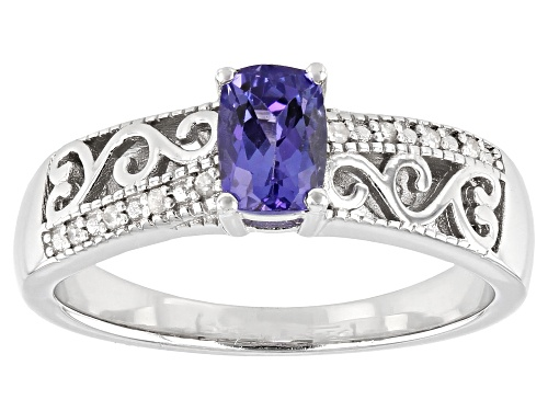 Photo of Pre-Owned 0.47ct Rectangular Cushion Tanzanite With .03ctw Round Diamond Accent Rhodium Over Silver - Size 8