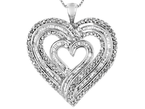 Photo of Pre-Owned 1.00ctw Round And Baguette White Diamond Rhodium Over Sterling Silver Heart Pendant With B