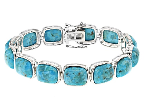 Photo of Pre-Owned 12x10mm Rectangular Cushion Cabochon Turquoise Rhodium Over Sterling Silver Bracelet - Size 8