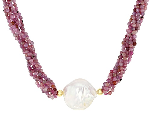 Photo of Pre-Owned Genusis™ Cultured Freshwater Pearl & Ruby 18k Yellow Gold Over Sterling Silver Necklace - Size 18