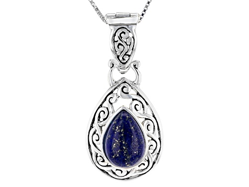 Photo of Pre-Owned 13x9mm Pear Shape Cabochon Lapis Lazuli Sterling Silver Solitaire Enhancer With Chain