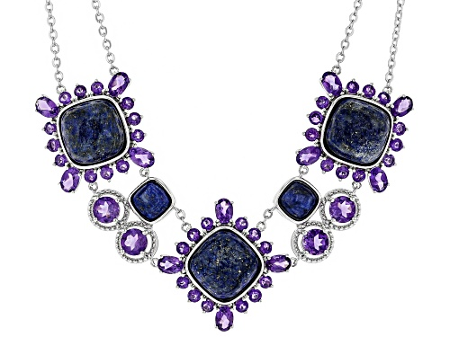 Photo of Pre-Owned 14mm & 8mm Square Cushion Lapis with 10.75ctw Round & Oval Amethyst Sterling Silver Neckla - Size 18