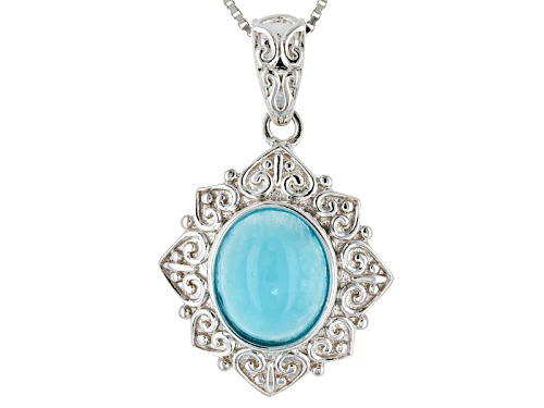 Photo of Pre-Owned 11x9mm Oval Cabochon Hemimorphite Sterling Silver Solitaire Pendant With Chain