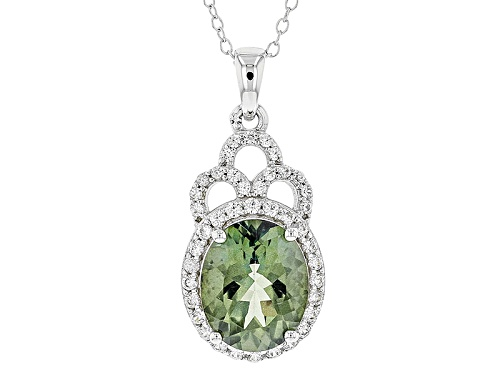 Photo of Pre-Owned 3.49ct Round Green Labradorite With .85ctw Round White Zircon Sterling Silver Pendant With