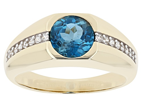 Photo of Pre-Owned 1.91ctw Round London Blue Topaz With 0.28ctw Round White Zircon 10k Yellow Gold Men's Ring - Size 11