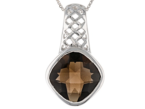 Photo of Pre-Owned 6.15ct Square Cushion Smoky Quartz Solitaire Sterling Silver Pendant With Chain