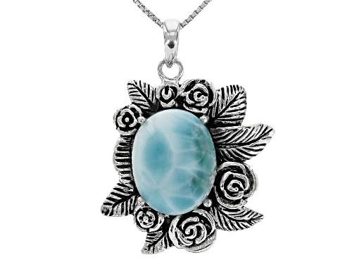 Photo of Pre-Owned 16x12mm Oval Cabochon Larimar Sterling Silver Pendant With Chain