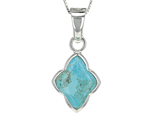 Photo of Pre-Owned 20x16mm Fancy Cut Blue Turquoise Sterling Silver Enhancer With Chain
