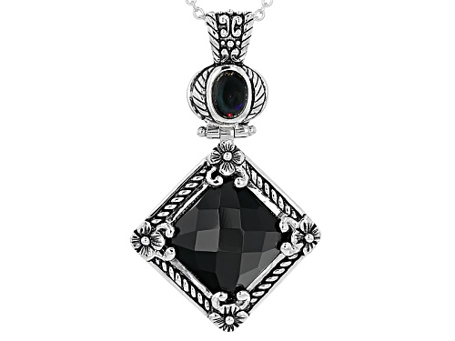 Photo of Pre-Owned .45ct Oval Cabochon Black Ethiopian Opal & 15mm Square Cushion Black Onyx Silver Pendant W