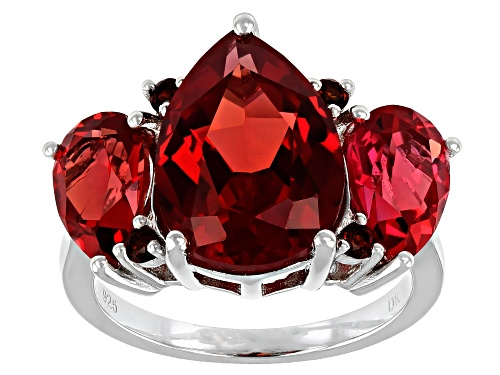 Photo of Pre-Owned 6.92ctw Pear Lab Padparadscha Sapphire, 0.17ctw Vermelho Garnet Rhodium Over Sterling Silv - Size 8
